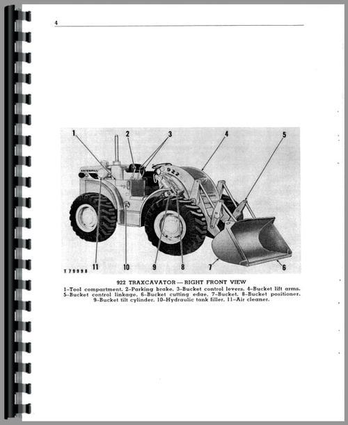 Operators Manual for Caterpillar 922 Wheel Loader Sample Page From Manual