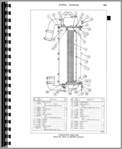 Parts Manual for Caterpillar 951B Traxcavator Sample Page From Manual