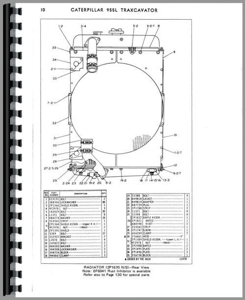 Parts Manual for Caterpillar 955L Traxcavator Sample Page From Manual