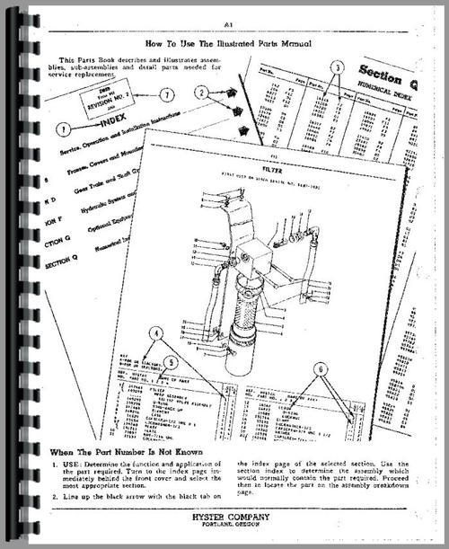 Parts Manual for Caterpillar Hyster Winch Crawler Sample Page From Manual