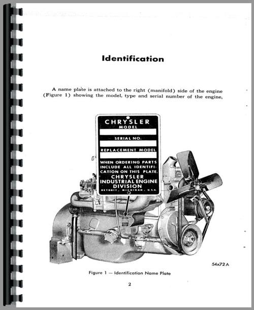 Operators Manual for Chrysler 33 Engine Sample Page From Manual