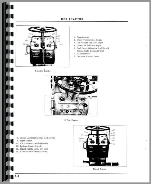 Operators Manual for Cockshutt 1800C Tractor Sample Page From Manual