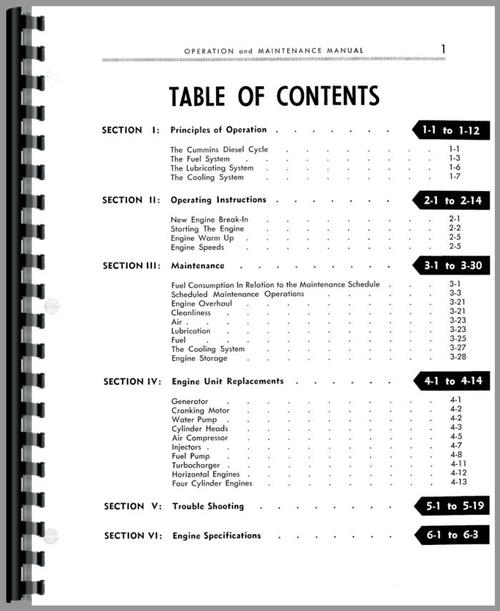 Operators Manual for Cummins HRS Engine Sample Page From Manual