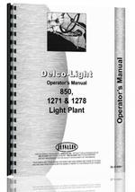 """Operators Manual for Delco 850, 1271, 1278 Light Plant"""