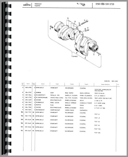 parts manual for deutz (allis) d4506 tractor sample page from manual