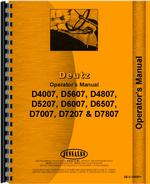 Operators Manual for Deutz (Allis) D7807 Tractor