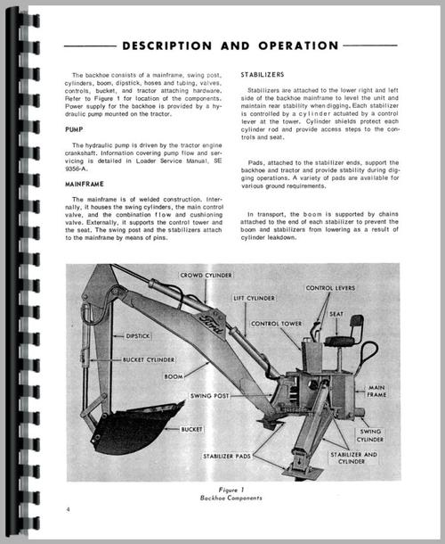 Service Manual for Ford 3500 Backhoe Attachment Sample Page From Manual