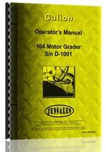 Operators Manual for Galion 104 Grader