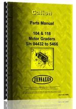 Parts Manual for Galion 104 Grader