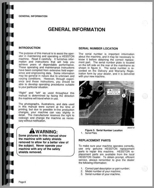 Hesston 1120 Mower Conditioner Operators Manual