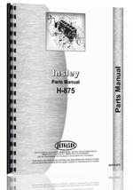 Parts Manual for Insley H-875 Excavator