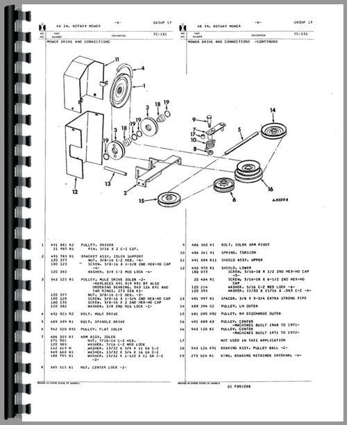 International Harvester 110 Disk Harrow Parts Manual on