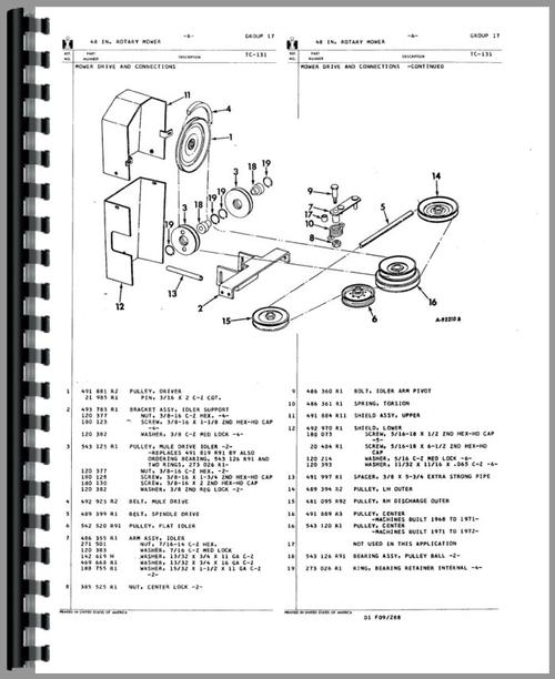 International Harvester 222 Sickle Bar Mower Parts Manual