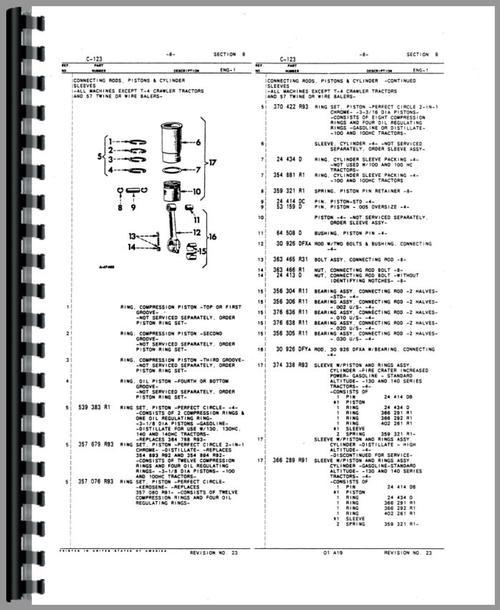 International Harvester 454 Tractor Parts : International harvester tractor engine parts manual