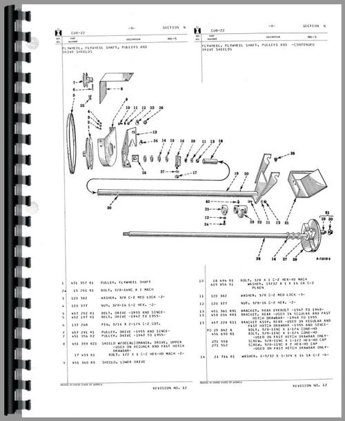 International Harvester Cub Tractor 22 Sickle Bar Mower Parts Manual