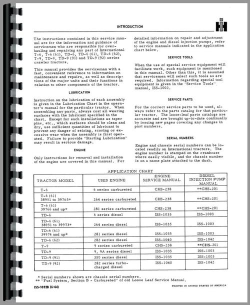 International Harvester TD6 Crawler Service Manual