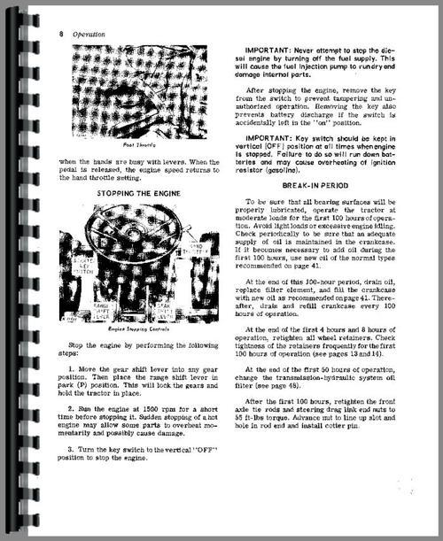 operators manual for john deere 1020 tractor sample page from manual