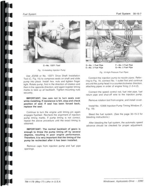 John Deere 2280 Windrower Service Manual