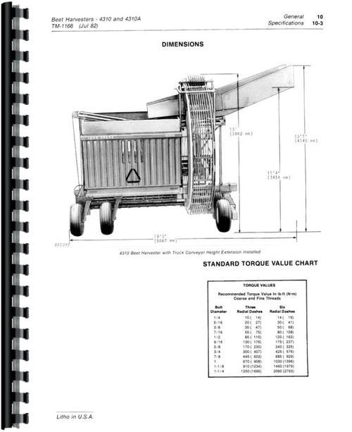 john deere 4310 beet harvester service manual