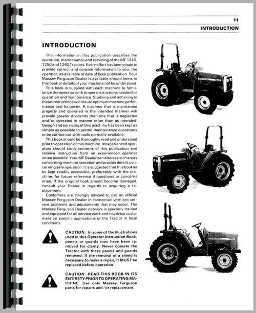 massey ferguson 1250 tractor operators manual rh themanualstore com massey ferguson 1250 repair manual Massey Ferguson Service Manual