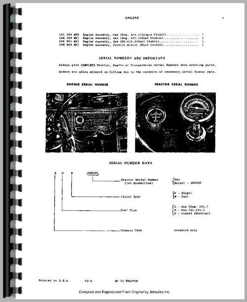 Ferguson 35 Parts : Massey ferguson tractor parts manual