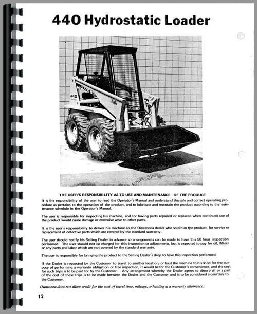Owatonna 440 Skid Steer Loader Operators Manual