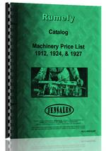 Catalog for Rumely all Machinery Price List