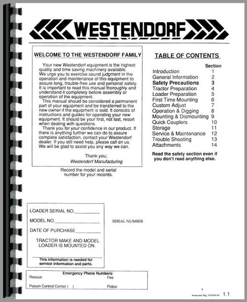 Operators & Parts Manual for Westendorf TA-29 Loader Attachment Sample Page From Manual