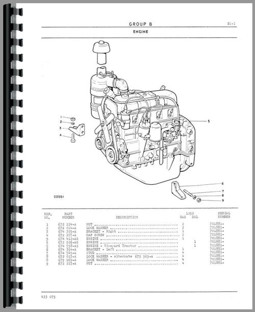 Parts Manual for White 1250 Tractor Sample Page From Manual