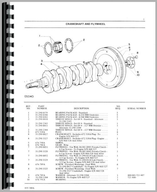 Parts Manual for White 1370 Tractor Sample Page From Manual