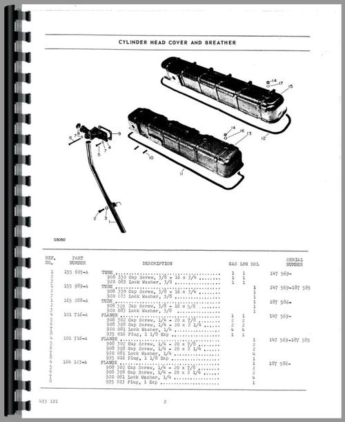 Parts Manual for White 1655 Tractor Sample Page From Manual