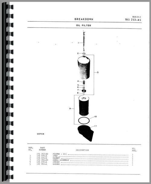 Parts Manual for White 2-115 Tractor Sample Page From Manual