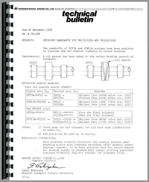 Yanmar YM135 Tractor Service Manual