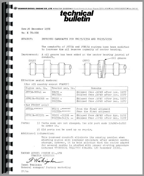 Yanmar YM155D Tractor Service Manual