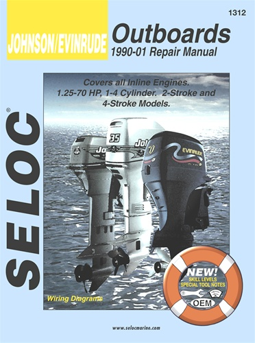 Evinrude Johnson Outboard Repair Manual 1990-2001 1 25 to 70 HP Two & Four  Strokes