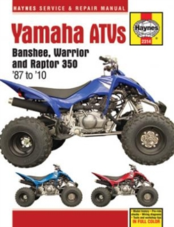 Haynes 2314 Yamaha Banshee, Warrior, and Raptor Repair Manual for 1987 thru 2010