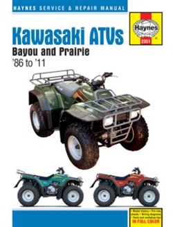 Haynes 2351 Kawasaki Bayou and Prairie ATVs Repair Manual from 1986 thru 2011