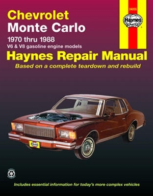 haynes repair manual for chevy monte carlo 1970 thru 1988 gasoline rh themanualstore com Chevrolet V8 Engine History First Chevrolet V8 Engine