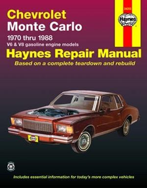 haynes repair manual for chevy monte carlo 1970 thru 1988 gasoline rh themanualstore com 1972 Chevy Monte Carlo 1972 Chevy Monte Carlo