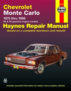 Haynes 24055 Chevy Monte Carlo Repair Manual for 1970 thru 1988 Gasoline Engine Models