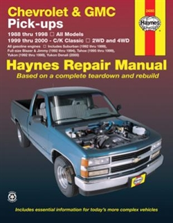 Haynes 24065 Chevy and GMC Pick-Ups Repair Manual for 1988 thru 1998 Gasoline Engine Models