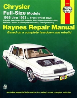 Haynes 25020 Chrysler Full-Size Front Wheel Drive Models Repair Manual for 1988 thru 1993