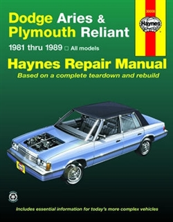 Haynes 30008 Dodge Aries and Plymouth Reliant Repair Manual for 1981 thru 1989
