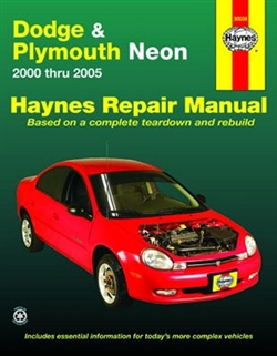 Haynes 30036 Dodge and Plymouth Neon Repair Manual for 2000 thru 2005