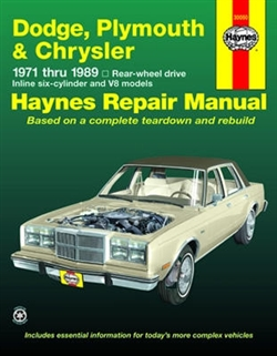 Haynes 30050 Dodge, Plymouth, and Chrysler Rear Wheel Drive Repair Manual for 1971 thru 1989