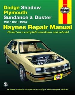Haynes 30055 Dodge Shadow, Plymouth Sundance & Duster Repair Manual for 1987 thru 1994