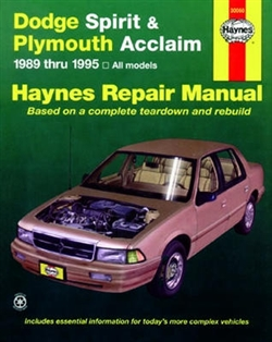 Haynes 30060 Dodge Spirit and Plymouth Acclaim Repair Manual for 1989 thru 1995