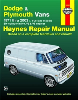 Haynes 30065 Dodge and Plymouth Full-Size Vans Repair Manual for 1971 thru 2003