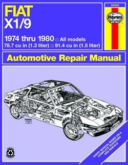 Haynes 34025 Fiat X1/9 Repair Manual for 1974 thru 1980