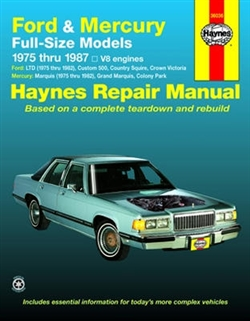 Haynes 36036 Ford and Mercury Full-Size Models Repair Manual for 1975 thru 1987